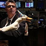 Duck Representing Aflac at NY Stock Exchange