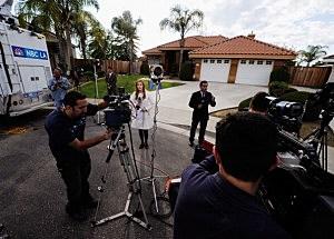 Media Gather Outside House Of Schwarzenegger's Former Housekeeper