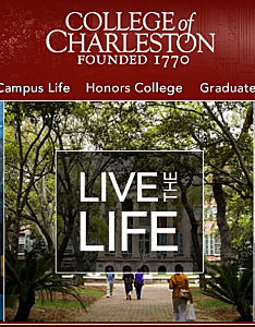 Screen Shot College of Charleston Website