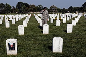 American Flags Placed At Graves At Arlington Nat'l Cemetery For Memorial Day