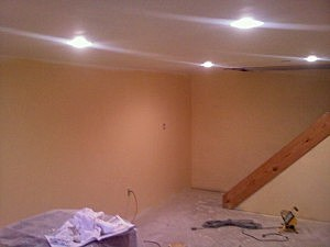 This is halfway through the job, the walls and recessed lighting are in and the floor is just about to go down.