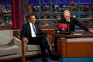 President Barack Obama With David Letterman