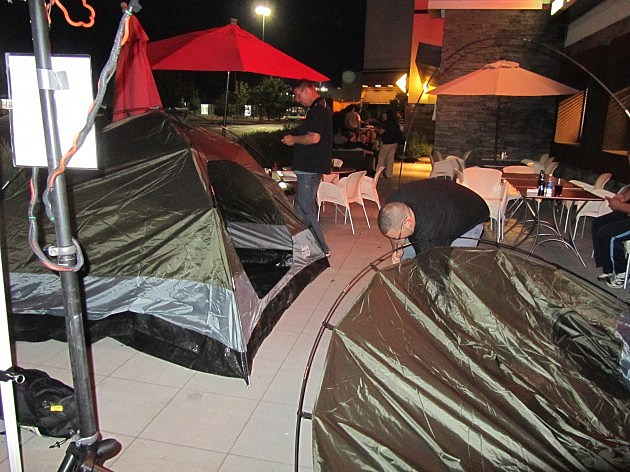Sean And Richie Camping outside Crossgates Mall