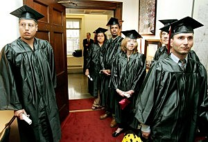 College Graduates Deliver Petitions For Affordable Tuition