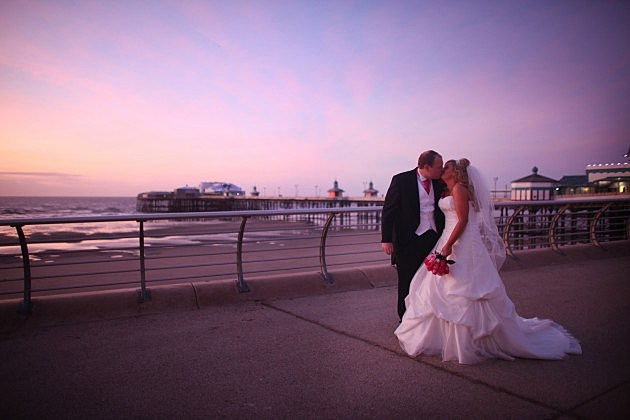 Couple Wed At Festival House In Front Of Blackpool Tower