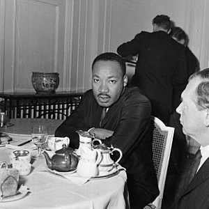 Black American civil rights leader and Baptist minister Dr Martin Luther King (1929 - 1968)