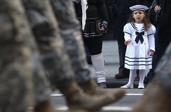 Gianna Piccolo, 3, whose father is a Navy veteran