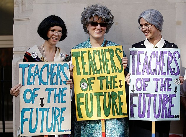 London Based Teachers Hold Strike Action Over Government Pension Proposals