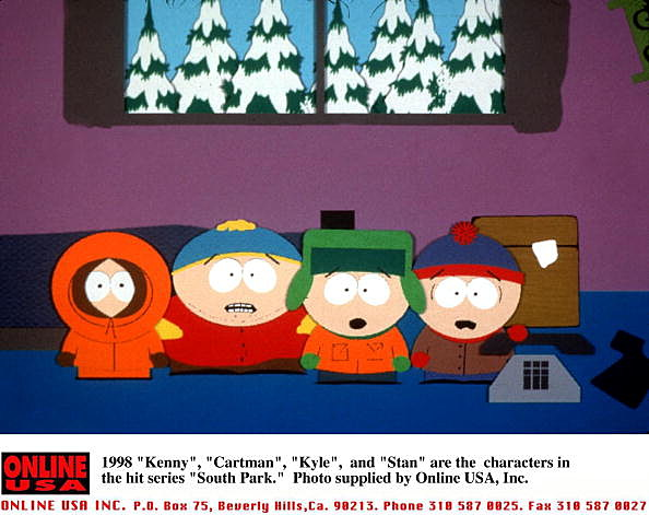 """1998 """"Kenny"""", """"Cartman"""", """"Kyle"""", and """"Stan"""" are the characters in the hit series """"South Park."""""""