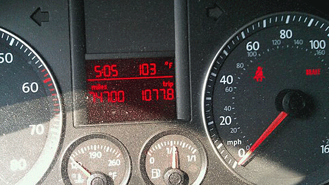Dashboard Thermometer 103 degrees