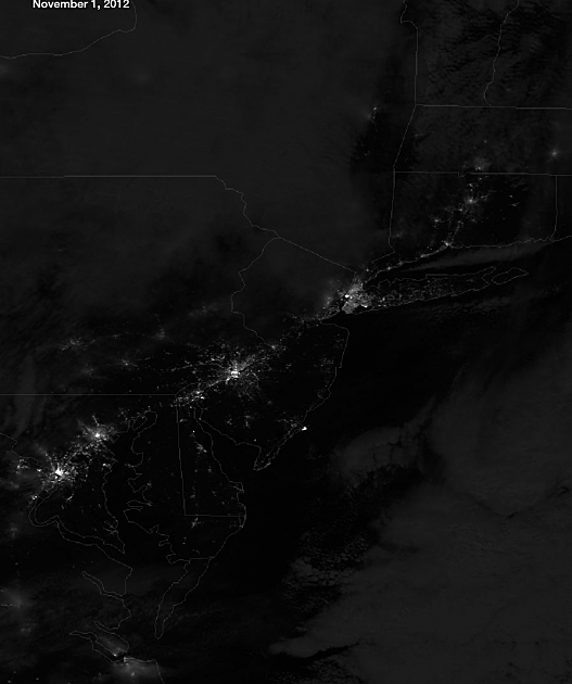 NYC + East Coast at night from space after Sandy