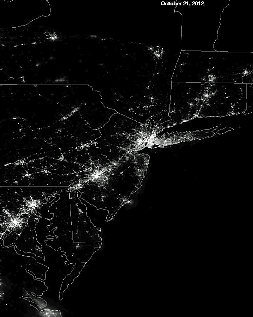 NYC + East coast from space before Sandy