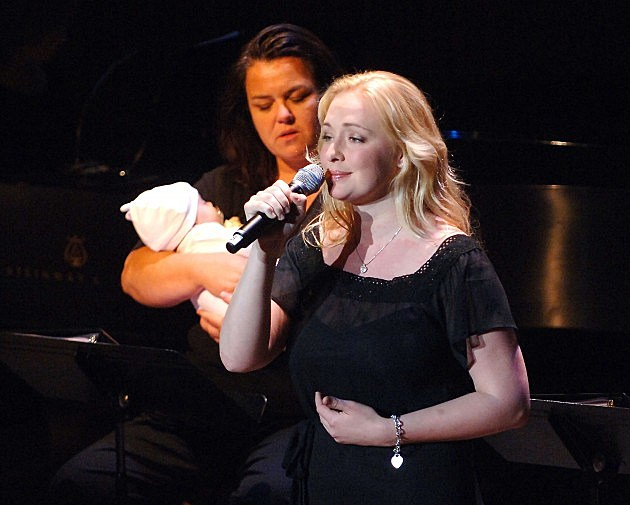 Mindy McCready performs as Rosie O'Donnell holds McCready's three-month old baby, Zander, at the V-Day Presentation of Any One Of Us: Words From Prison at Alice Tully Hall - Lincoln Center June 21, 2006 in New York City.