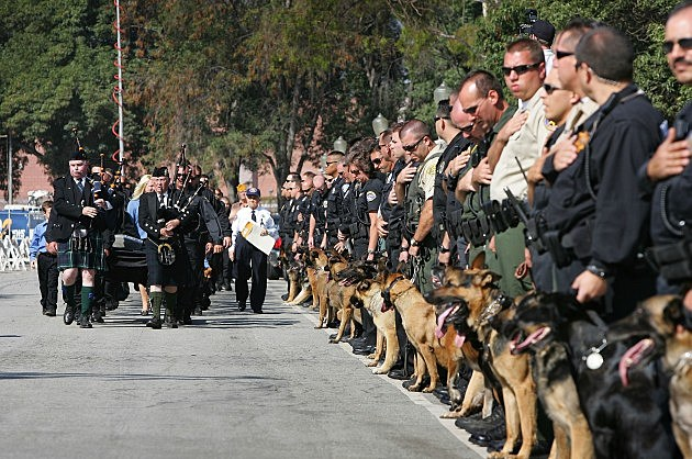 Memorial Service Held For Police Dog