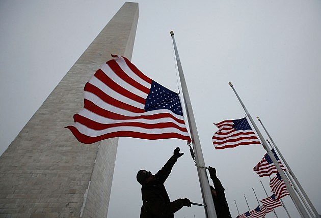 Flags Fly At Half Staff In Washington DC