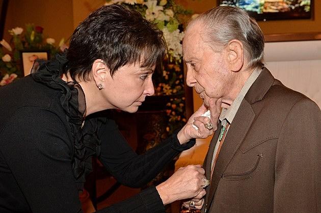 Little Jimmy Dickens with Nancy Jones at George Jones' Funeral