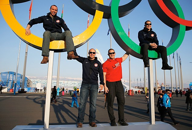 Team USA Bobsledders Nick Cunningham, Justin Olsen, Dallas Robinson and Johnny Quinn pose together in the Olympic Park during the Sochi 2014 Winter Olympics on February 8, 2014 in Sochi, Russia.