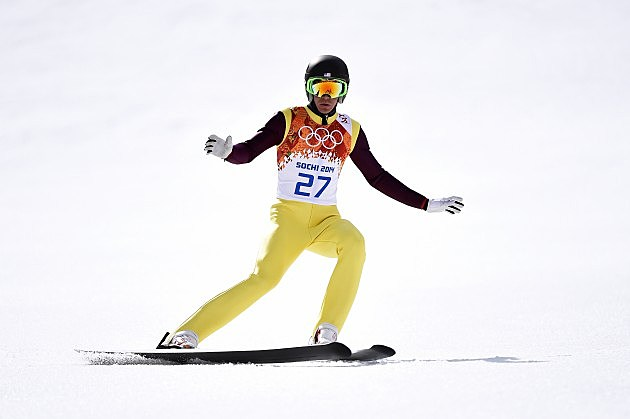 Bill Demong of the United States competes during the Nordic Combined