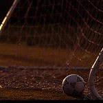 1ST OCT 1993: A GENERAL PHOTO SOCCER BALL IN FRONT OF A SOCCER GOAL